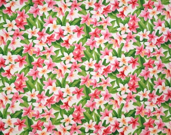 White & Pink Plumeria Hawaiian Flower Print Fabric - 100% Cotton - Mask, Dress, Napkin, Sewing Fabric -White C007W