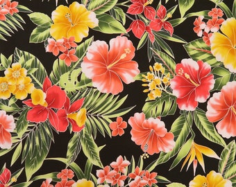 Red/Yellow Hibiscus  100% Cotton Hawaiian Fabric -Black C162BK