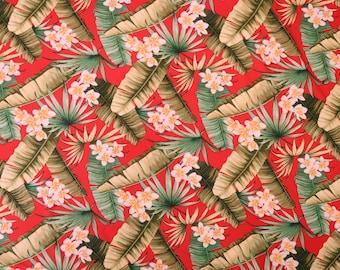 Red Plumeria Rayon Hawaiian Fabric - Red R102R