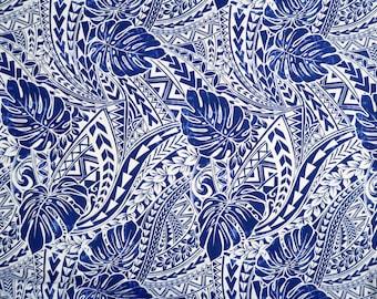 Monstera Polynesian Tribal Mix Hawaiian Print Fabric -Blue Navy PC124B
