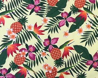 Pineapple & Birds of Paradise Hawaiian 100% Cotton Fabric-Yellow C245Y