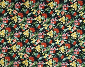 Black Floral Print Cotton Fabric - Red and Yellow Flowers -Hawaiian Fabric Black - C219BK