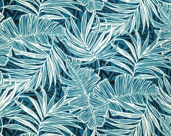 Palm & Banana Leaf Print Fabric - Polyester Cotton Hawaiian Fabric-Teal PC145G