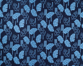 Modern Tropical Leaf Print Cotton Fabric | Navy