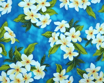 Blue Hawaiian Plumeria Print Fabric | 100% Cotton | Mask,Dress, Sewing Fabrics - P006SB