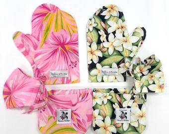 Hawaiian Fabric Bag & Mitten Gift Set | Pink Hibiscus MS194