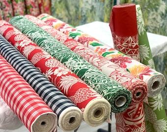 2 yd Holiday Color Hawaiian Fabric Set-Cream/Blue/Teal/Sky Blue SET20