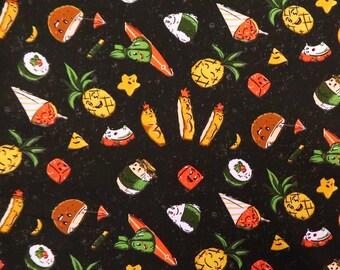 Hawaiian Food Print Paradise| Coconut, Musubi, Katsu, Laulau - Black C248BK