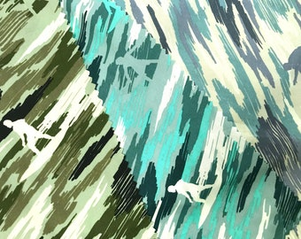 Camouflage Green fabric with Surfer - Green/Blue/Turquoise C239BGT
