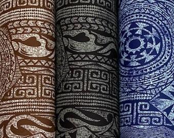 Geometric Tribal Hawaiian Tapa Print Fabric - Poly Cotton- Brown/Black/Blue-PC232