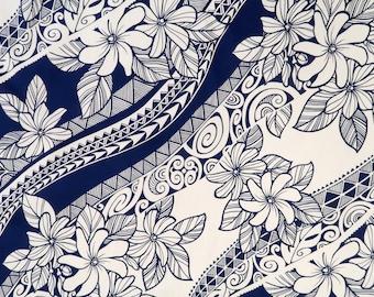 Polynesian Tribal Print with Hawaiian Flower 100% Cotton Fabric-Navy