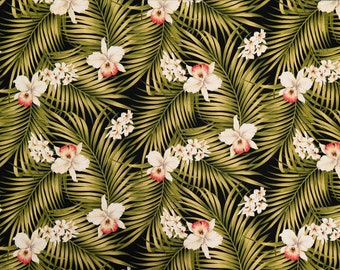 Orchid and Palm Leaf Print Tropical Interior Fabric | Bark Cloth Hawaiian Upholstery Furniture Grade Fabric | Black