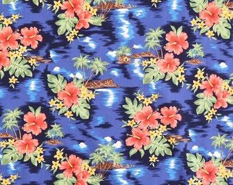 Retro Print Hawaiian Fabric - Hibiscus and Diamond Head Hawaiian Print 100% Cotton Fabric / Mask making-Royal Blue C038B