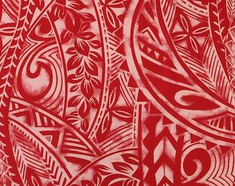 Polynesian Tribal Center Print-Red PC095P