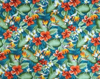 Hibiscus & Birds of Paradise Hawaiian Prints Fabric for Dress, Shirts, Curtain Making-Teal Green C222G