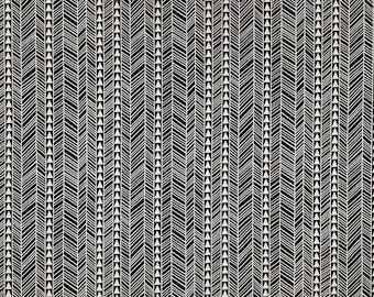 Bark Cloth Tapa Hawaiian Print Upholstery Furniture Grade Fabric | Black