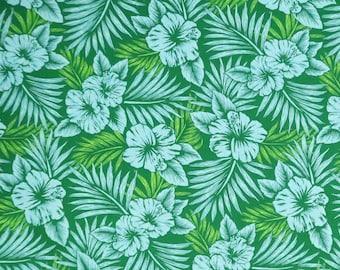 Hibiscus Poly-Cotton Hawaiian Fabric-Green Blue PC151G