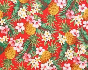 Hawaiian Pineapple & Tropical Flower Red Fabric | C024R