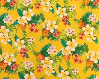 Yellow Pineapple and Plumeria Hawaiian Print Fabric | Yellow C258Y