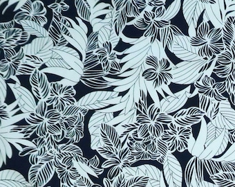 Hawaiian Fabric - Grey Plumeria Flower Print - Dress Making, Shirt, Interior Decoration -Cotton C215GR