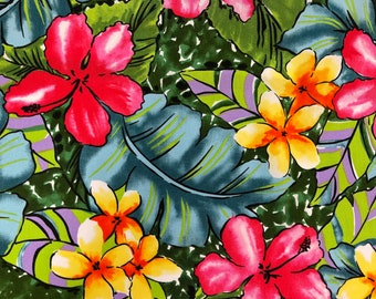 Hawaiian Fabric - Red Hibiscus with Yellow Plumeria Watercolor Floral Prints | 100% Cotton