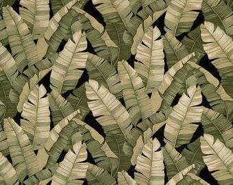 Banana Leaf Modern Tropical Leaf Interior Furniture Fabric | Bark Cloth Hawaiian Upholstery Grade Fabric | Black