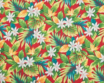 Hawaiian Tiare Flower and Monstera Leaf Red Fabric