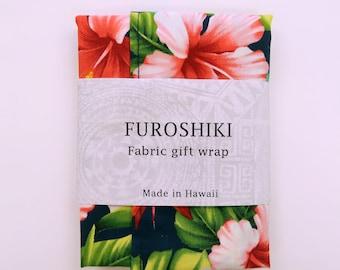 Gift Wrap Hawaiian Fabric Furoshiki | Eco Wrapping Cloth SMALL | Hibiscus and Plumeria