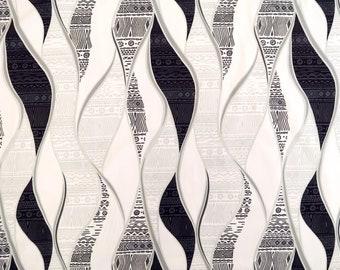 Geometric Print Fabric - Wave and Kapa Print Fabric by the yard- Black,grey,white PC055W