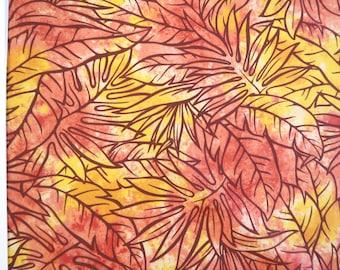 Dancing Leaf Orange Hawaiian Fabric - Lightweight Orange Leaf Print Fabric -PC067O