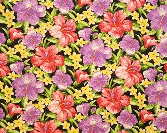 Colorful Hibiscus Paradise-Black C027BK