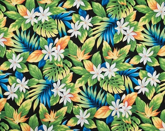 Hawaiian Tiare Flower and Monstera Leaf Black Fabric