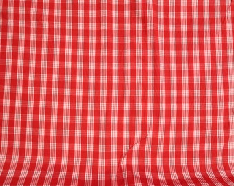 Hawaiian Vintage Palak Print Fabric - Plaid Print | 100% Cotton by yard | Red C136R