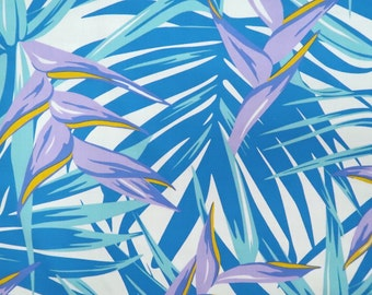 Blue Heliconia Poly-Cotton-Blue PC152B