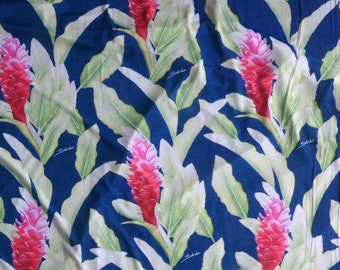 Hawaiian Flower Knit Jersey Stretch Fabric for Dress Making | Green Heliconia