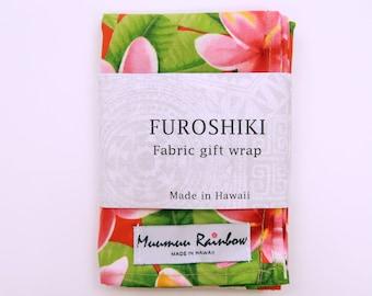 Hawaiian Floral Print Fabric Gift Wrap Furoshiki | Eco Wrapping Cloth | XS