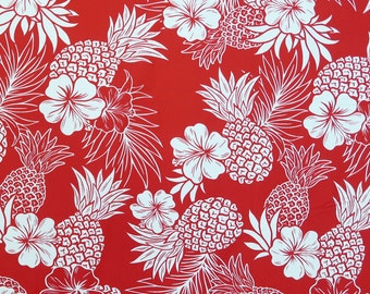 Red Pineapple and Hibiscus Print Hawaiian Fabric -Red C105R