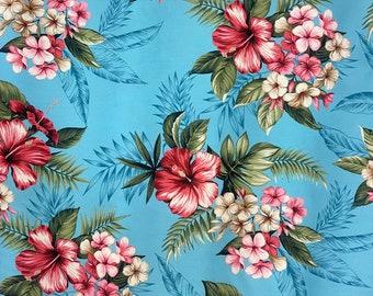 Blue Floral Print Fabric - Hibiscus & Plumeria - Hawaiian Fabric   100% Cotton 264B