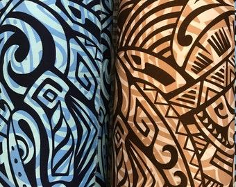Polynesian Tribal Hawaiian Print Fabric - 100%  Cotton - Blue, Brown C227BBG
