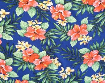 Rayon Hawaiian Print Fabric- Paradise Hibiscus Rayon Hawaiian Print - Royal Blue R050N