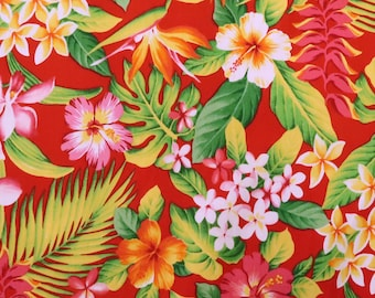 Small Floral Print Cotton Fabric - Red Hibiscus Hawaiian Flowers - Hawaiian Cotton Fabric - Red C025R