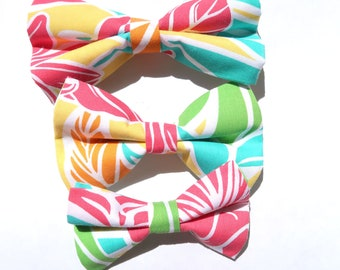 Pre-made Ribbon for Pet, Kids, Gift | Removable Bow Tie | Tropical Floral Print and Tahitian | S,M, L
