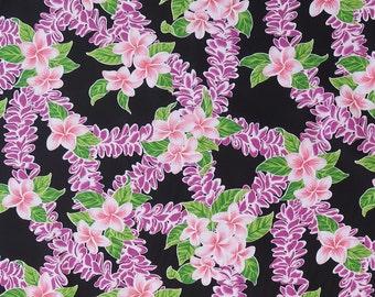 Plumeria Purple Lei Party Hawaiian Fabric - Purple, Black PC060BK