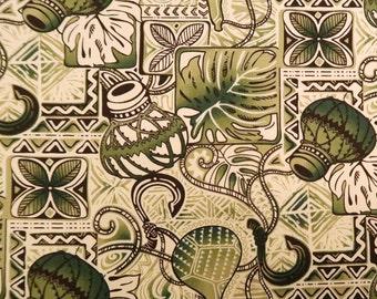 Ipu Fish Hook Polynesian Tribal Print Fabric- Green C250G