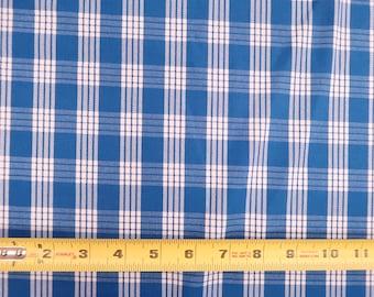 Hawaiian Vintage Retro Plaid  Print Fabric - Hawaiian Palaka Print Fabric | 100% Cotton by yard | Royal Blue C133B