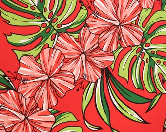 Big Hibiscus Print Hawaiian Fabric-Red PC086R