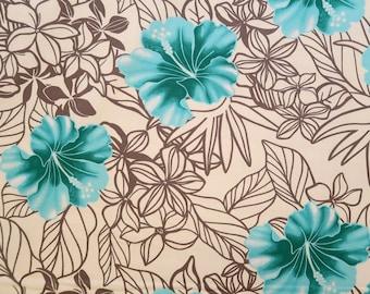 Hawaiian Print Fabric - Emerald Green Hibiscus -Grey PC053WB