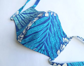 Blue Lei Hawaiian Print Reusable Fabric Facemask with filter pocket M169