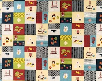 Japanese Sushi and Maneki Neko Print Fabric - Cotton Asian Print Fabric - Navy C237N