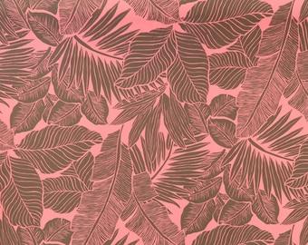 Grayish Pink Palm Leaf Print Fabric PC262P
